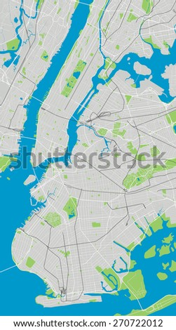 Large vector map of New York ultra detailed - stock vector