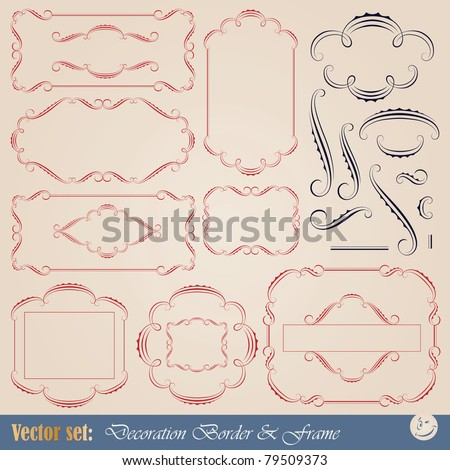 Large vector set for design and decoration page in calligraphic and vintage style - stock vector