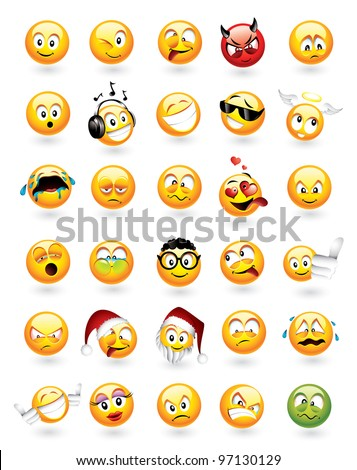Large vector set of 30 emoticons with various facial expressions - stock vector