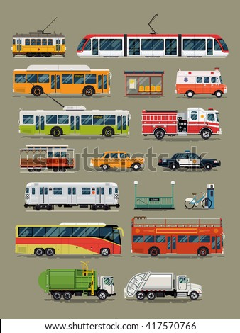 Large vector set of public, service and emergency city transport vehicles. Mass transit and special urban transport icons. Taxi, police car, ambulance, tramway car, subway, cable car, garbage truck - stock vector
