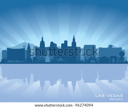 Las Vegas, Nevada skyline illustration with reflection in water - stock vector