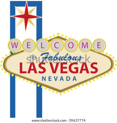 Las Vegas sign, welcome to fabulous las veags nevada - stock vector