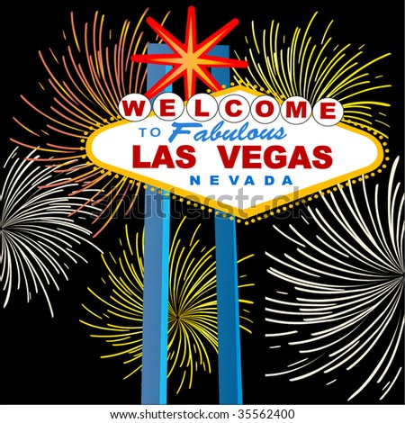 las vegas sign with fireworks - stock vector