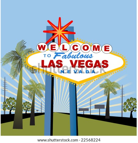 las vegas sign with palm trees and burst - stock vector