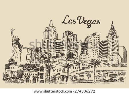 Las Vegas skyline, big city architecture, vintage engraved vector illustration, hand drawn, sketch. - stock vector