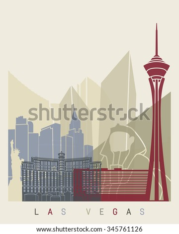 Las Vegas skyline poster in editable vector file - stock vector