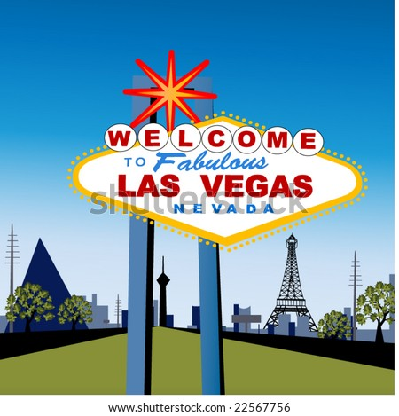 las vegas strip with welcome sign - stock vector
