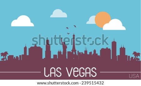 Las Vegas USA skyline silhouette vector design. - stock vector