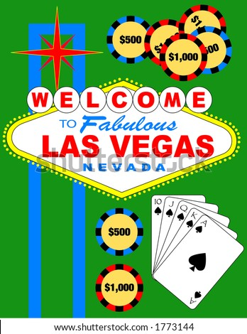 Las Vegas welcome sign with a straight flush and some poker chips.  Vector illustration, can be resized and isolated very easy and can be placed easily. - stock vector