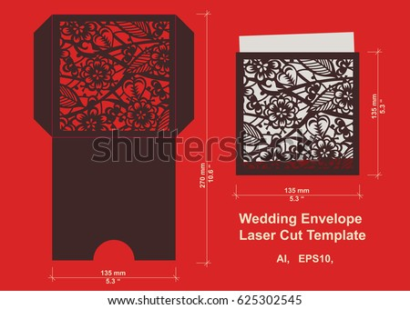 Laser cut flower pattern wedding invitation stock vector 625302545 laser cut flower pattern for wedding invitation envelope vector template floral panel for paper stopboris Images