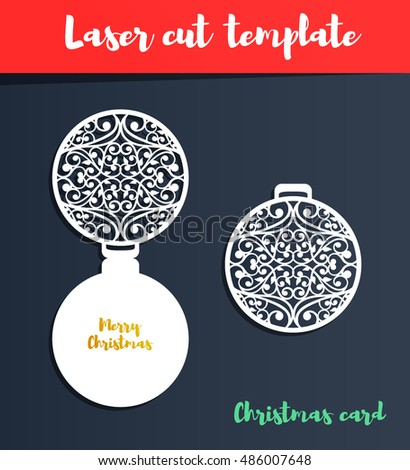 Laser Cut Template Christmas Card Brush Stock Vector