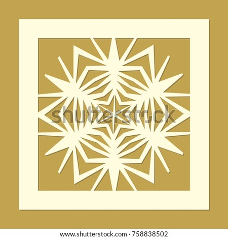 Laser Cut Template With A Snowflake Christmas Openwork Design For Winter Holiday Gift Box