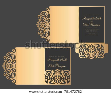 Laser Cut Tri Fold Invitation Template Stock Vector 2018 751472782