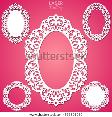 Laser Cut Vector Frame Collection Set Stock Vector HD (Royalty Free ...