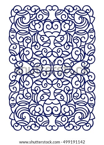 Laser cut vector panel . Cutting paper, wood, metal. Vector illustration hand drawn. Line art.