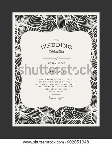 Laser cut vector wedding invitation orchid stock vector 602051948 laser cut vector wedding invitation with orchid flowers for decorative panel perfect for wedding or stopboris Images
