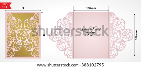 laser cut wedding invitation card template stock vector royalty