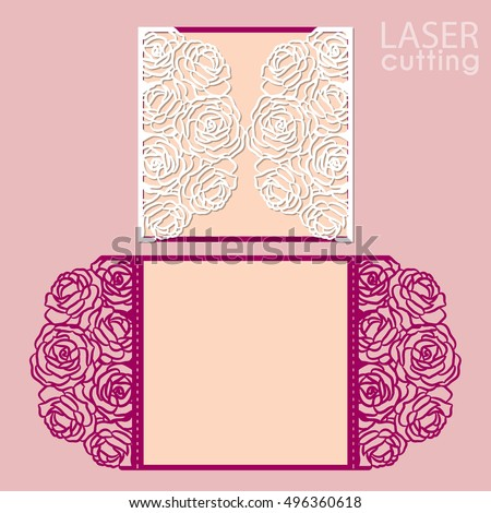Laser Cut Wedding Invitation Card Template Vector With Rose Flowers. Cutout  Paper Gate Fold Card