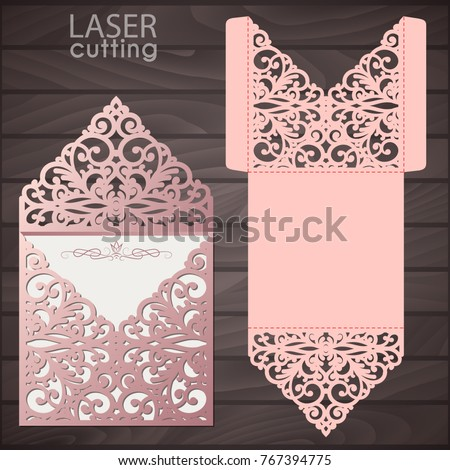 Laser cut wedding invitation envelope template stock vector royalty laser cut wedding invitation envelope template vector wedding invitation or greeting card with abstract lace stopboris Image collections