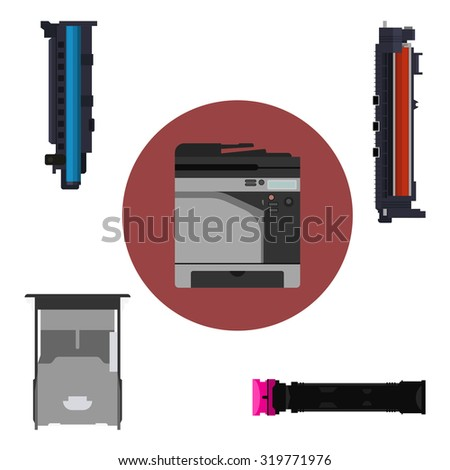 Laser printer and print equipment set. Cartridge, toner and paper tray design. Vector copier and hardware parts. Technology image with accessories. Modern digital equipment. - stock vector