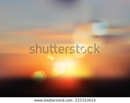 Late summer evening sunset. Defocused landscape in sunlight with lens flare and colorful bokeh. Vector. - stock vector