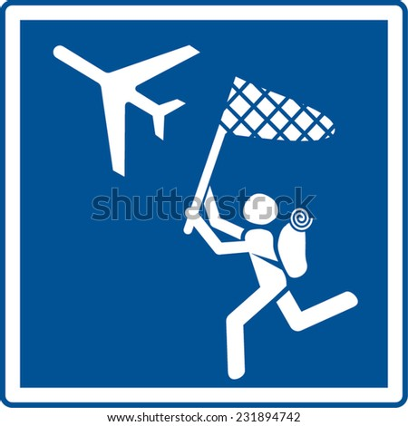 latecomer try to stop his flight - stock vector