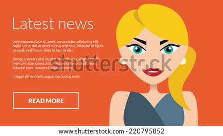 Latest news with business woman presenting information. Vector concept for online advertising  - stock vector