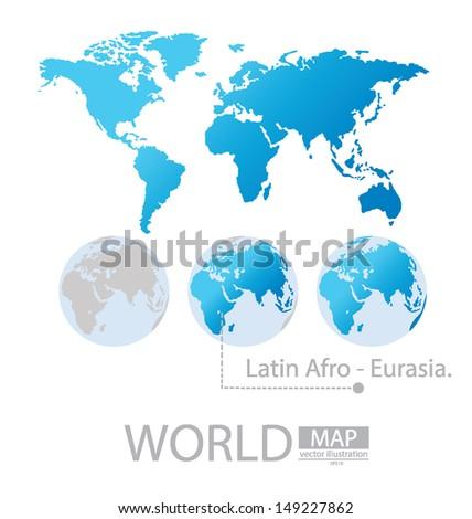Latin afro-Eurasia. World Map vector Illustration - stock vector