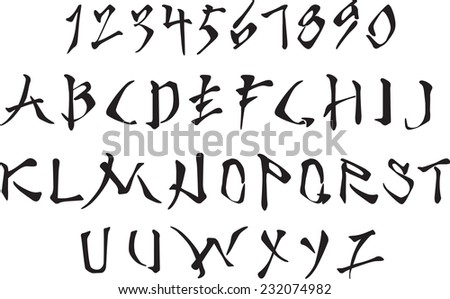 Latin alphabet and Arabic numerals stylized