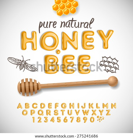 Latin alphabet and numbers made of honey, vector illustration.  - stock vector