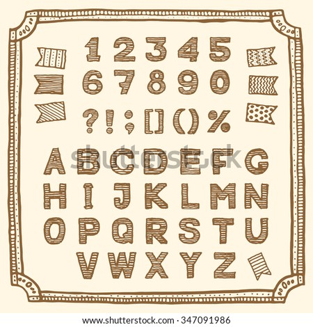 Latin alphabet, hand drawn pen ink.  Vintage style, retro sketchy set with frame and flags. Letters, numbers and punctuation marks. Suitable for my sale and discount collection and hand drawn devices. - stock vector