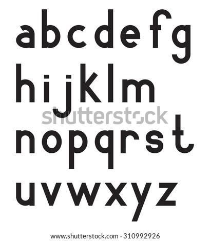 Latin alphabet letters, font set, lower case, black isolated on white background, vector illustration. - stock vector