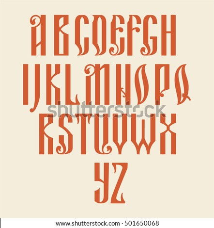 Latin Alphabet Russian Style Retro Typography Design Fonts Text Sign Letters Collection Art
