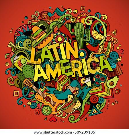 Latin America Colorful Festive Background Cartoon Stockvector