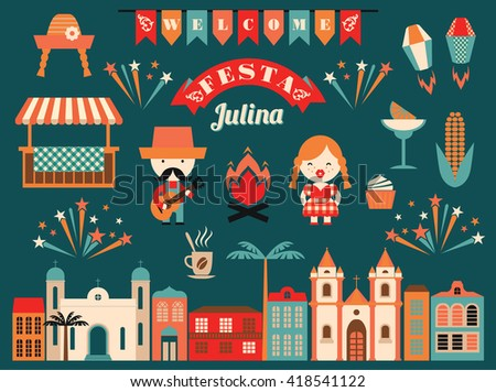 Latin American holiday, the June party of Brazil. Flat illustration with symbolism of the holiday.  - stock vector
