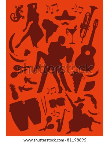 Latino Dance and Music icons - stock vector