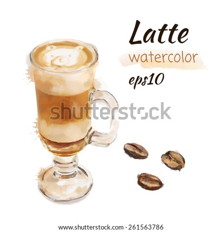 Latte and coffee beans. Watercolor vector illustration eps 10. - stock vector