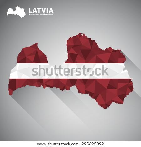 Latvia flag overlay on Latvia map with polygonal and long tail shadow style (EPS10 art vector) - stock vector