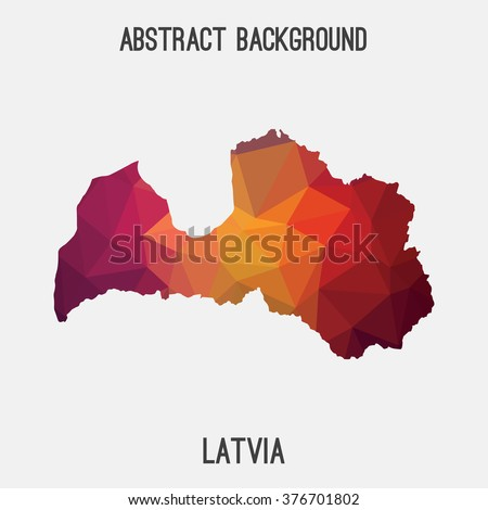 Latvia map in geometric polygonal style.Abstract tessellation,modern design background. Vector illustration EPS8 - stock vector