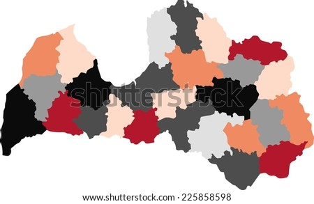 Latvia Political Map Pastel Colors Stock Vector 225858598 Shutterstock