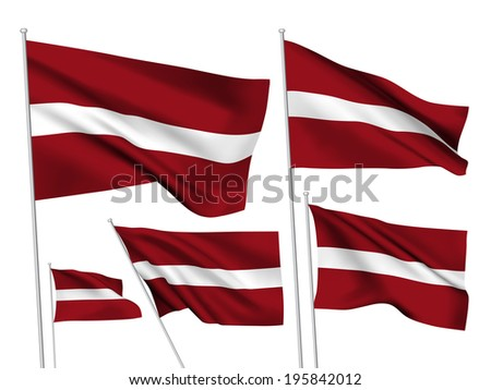 Latvia vector flags. A set of 5 wavy 3D flags created using gradient meshes. - stock vector