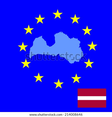 Latvia vector map and vector flag isolated on EU background silhouette. High detailed illustration - stock vector