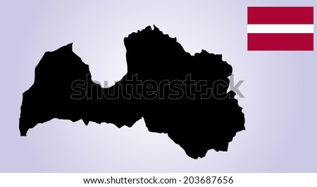 Latvia vector map and vector flag isolated on white background silhouette. High detailed illustration - stock vector