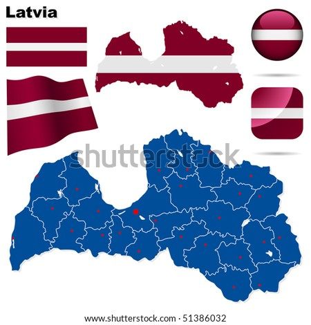 Latvia vector set. Detailed country shape with region borders, flags and icons isolated on white background. - stock vector