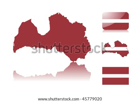 Latvian map including: map with reflection, map in flag colors, glossy and normal flag of Latvia. - stock vector