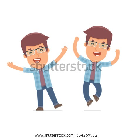 Laughing and Joyful Character Freelancer celebrates and jumps. for use in presentations, etc. - stock vector