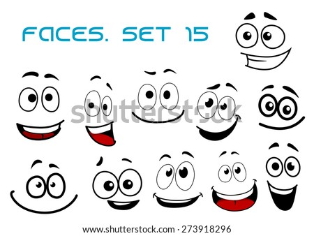 Laughing and toothy smiling funny faces with big googly eyes in cartoon comic style for humor caricature or avatar design - stock vector