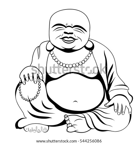 Laughing Buddha or Hotei sitting. Vector illustration.