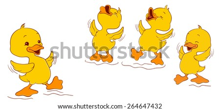 Laughing ducklings - stock vector