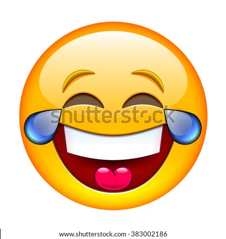 Laughing Emoticon with Tears. Smile icon. Isolated Vector Illustration on White Background - stock vector